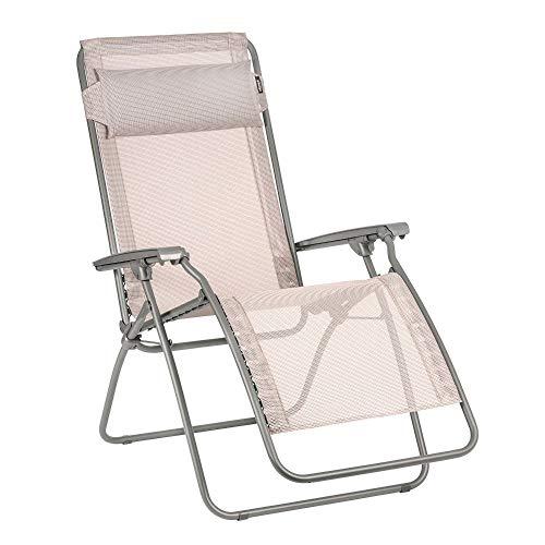 LAFUMA MOBILIER Relax-Liegestuhl, Klappbar und verstellbar, R Clip, Batyline, Farbe: Magnolia, LFM4020-9269