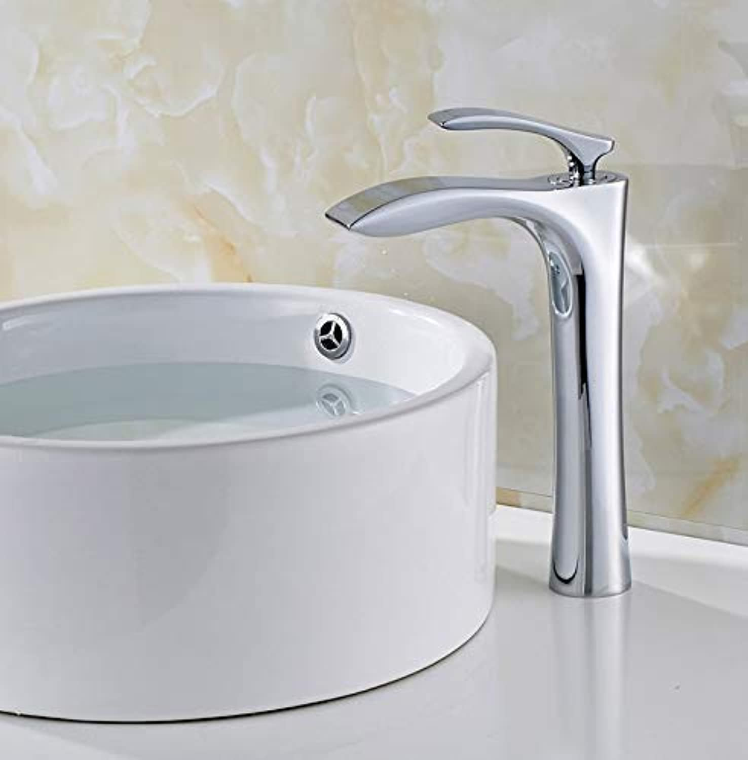 Oudan Taps Fountain Basin Faucet Cold And Hot Bathroom Tub Waterfall Faucet,Single Handle Single Hole Mixer Faucet Chrome Water Tap Taps (color   -, Size   -)