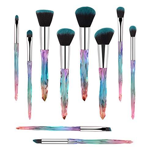Makeup Brushes, 10PCs Professional Cosmetic Brush Set Special Shiny Foundation Face Powder Brush Eyeshadows Blending Blush Brushes Colorful Plastic Handle (Blue)