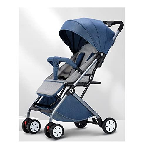 Yyqx sillas de Paseo Cochecito de bebé, Puede Sentarse en un Trolley reclinado Tipo Ultra Light Plegable Bebé Niño Carretilla Portátil Pastillas Portátiles Coche Infantil (Color : Coral Blue)