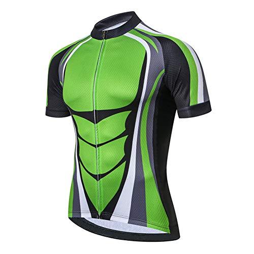Herren Kurzarm-Radtrikot mit durchgehendem Reißverschluss, atmungsaktivem MTB-Shirt Schnell trocknende komprimierte Fahrradtrikots im Sommer