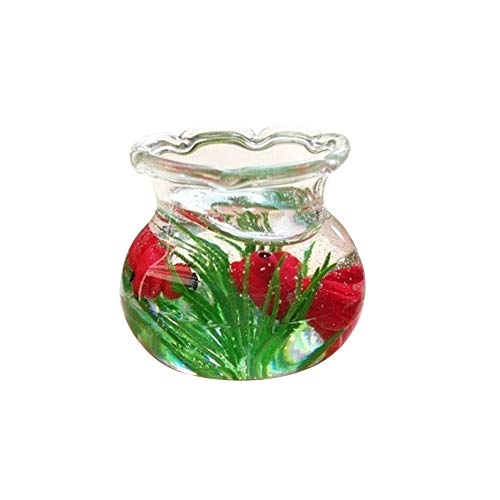 Anniston Dollhouse Furniture, Mini Decoration Resin Miniature Fish Tank Accessory Toy for 1/6 1/12 Dollhouse House Playset Set for Toddlers Girls and Boys, Red