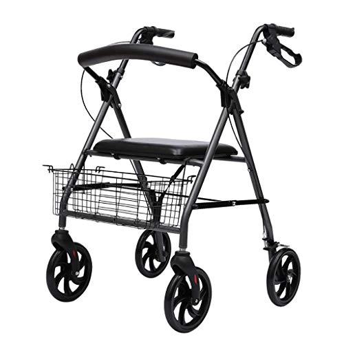LXDDJZXQ Andador para Ancianos Walker, Aluminio Plegable Movilidad Ayuda móvil Walker Rollator Carrito de Compras Carro con Asiento y Freno de Mano