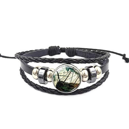 Demarkt Pulseras de piedras preciosas artificiales para hombres y mujeres, pulseras náuticas trenzadas, hechas a mano, pulsera ajustable