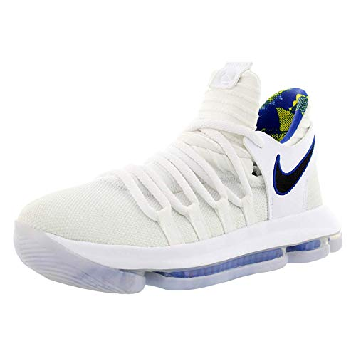 Nike Zoom KD10 LMTD NBA Grade School Basketball Shoes (3.5 M US Big Kid, White/Game Royal/University Gold)