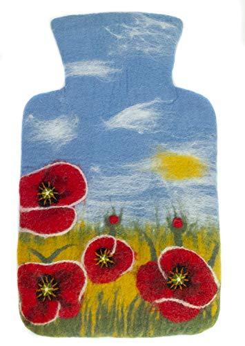 feelz Wärmflasche gefilzt Mohn Blumen Wiese Filz Wolle (Merino) Wärmflaschenbezug Handarbeit - Fairtrade