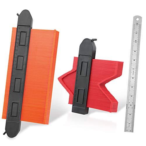 Contour Gauge Duplicator Tool, 10 & 5 inch Widen Profile Shape Copy Tools with Adjustable Lock for DIY Woodworking Templates & Tiles & Corners & Laminate Master Outline Measuring Ruler 2 Pack