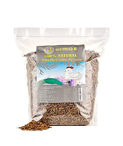 KIMOE Non-GMO Fly Larvae 5lbs for Wild Bird,Chicken More Calcium Than Dried Mealworms