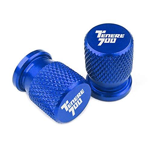 ZHAOYAN Tapones de válvula para neumáticos de motocicleta Ya-Ma-Ha TENERE 700 2019-2020, de aluminio, resistentes al polvo, para evitar fugas de aire, 2 unidades, color azul
