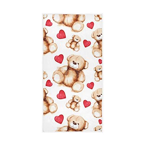 Mr.XZY Toallas de baño 100% algodón, de secado rápido, suaves, para hombre, mujer, hogar, cocina, natación, spa, gimnasio, 30 x 15 pulgadas, juguete oso corazón 2010244