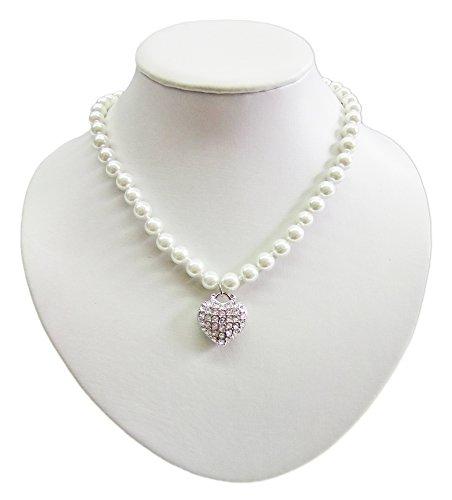 LUISIA® Perlen Kette mit Strass Herz und Kristallen von Swarovski® - Zauberhaftes Schmuck Collier zum Dirndl, Brautkleid oder Abendkleid