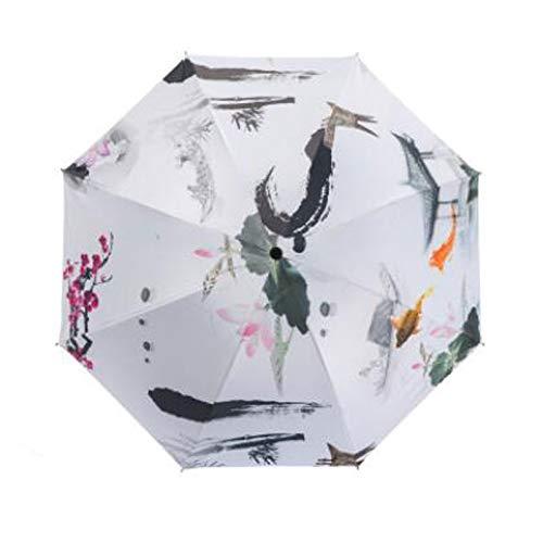 中国風とサニー傘デュアル使用ブラックラバーレインシェード日焼け止めや紫外線対策のパーソナリティは三倍ポータブルインク古代のスタイル折りたたみ傘 (Color : Ink painting)