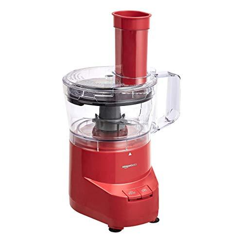 AmazonBasics 4-Cup Food Processor, Red (Renewed)