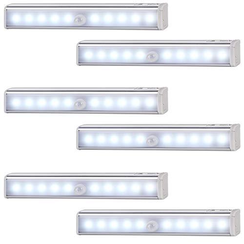 Monzana Lichtleiste 6er Set LED Bewegungsmelder kabellos Unterbauleuchte Schrankbeleuchtung Schrankleuchte Schranklicht