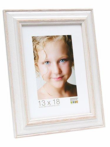 Deknudt Frames Cornice portafoto in Legno, Modello Base, Legno, Bianco/Beige, 13 x 18 cm
