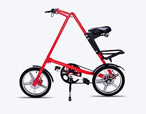 FAEIO Bicicleta Plegable 14 Pulgadas Rueda para niños Carretera Completa Adulto Mini Aleación de Aluminio Bicicleta Marco Retro Nuevo Show Creativo Bicicleta de Rendimiento 120 × 100 cm