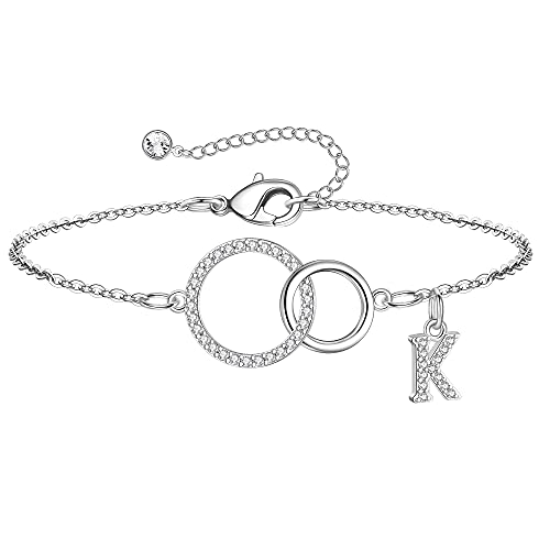 Yoosteel Mother Daughter Bracelet for Mom Gifts, Dainty K Initial Bracelet Two Interlocking Infinity Circles Bracelets for Mom Jewelry Birthday Gift for Women