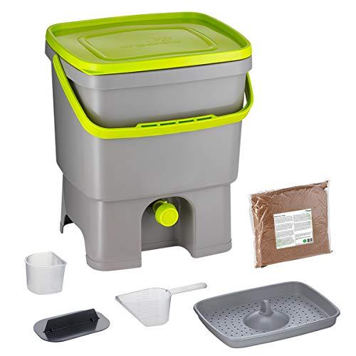 Skaza Bokashi Organko (16 L) Garten- und Küchenkomposter aus Recyceltem Kunststoff | Starterset mit EM Fermentationsaktivator 1 kg (Grau-Limette)