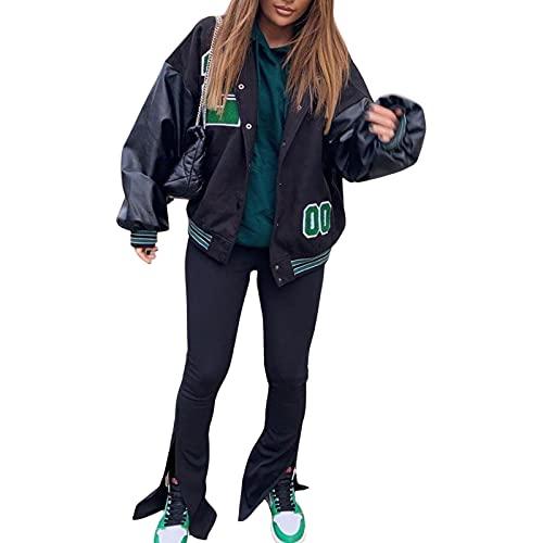 Zukmuk Chaqueta de mujer de béisbol Oversize de piel con bordado, abrigo vintage, de manga larga, chaqueta informal, a la moda, otoño e invierno, Negro y verde., M