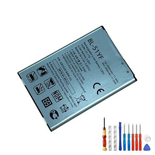 E-yiiviil batería de Ion de Litio Replacement BL -51YF Compatible para LG G4 H810 H812 ls991 vs986 2900 mAh 3.85 V