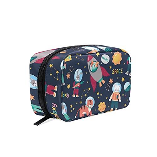 Hengpai Space Animal Kids Cat Tiger Rabbit Bird Bolsa de cosméticos con cremallera para artículos de tocador para mujer Square Makeup Brush Bag