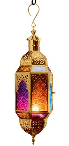 Farol colgante de estilo marroquí para velas de té, cristal multicolor y metal de color dorado, Small 10 x 8.5 x 29.5cm