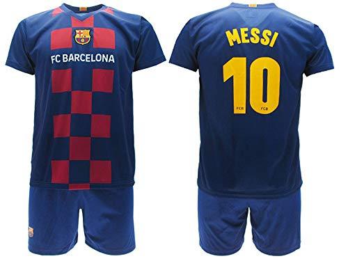 Messi 2020 Barcelona Offizielle Home 2019 2020 in Blister Trikot + Shorts Barcellona 10 Kinder, blau, 4 anni
