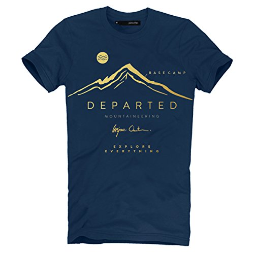 DEPARTED Herren Mountain T-Shirt mit Print/Aufdruck 3736-140 - New fit Größe XL, Coastal Denim