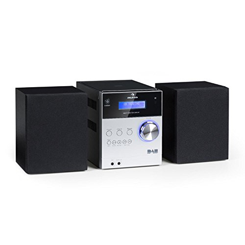 auna MC-20 DAB - Micro-Stereoanlage, Mini-Stereoanlage, HiFi-Stereoanlage, digitaler DAB(+)-Tuner, analoger UKW-PLL-Tuner, Ausgangsleistung: 2X 5 Watt, Bluetooth, LCD-Display, Silber