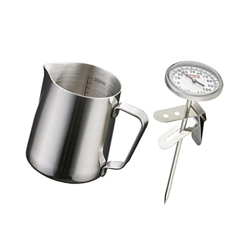 350ML Stainless Steel Milk Pitcher Measuring Scale Jug Thermometer Frother