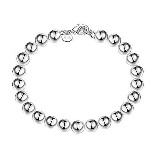KEERADS BIJOUX Bijoux Femmes 8mm Argent Perles Chaîne Bracelet Mode Dames Accessoires (Couleur argent)