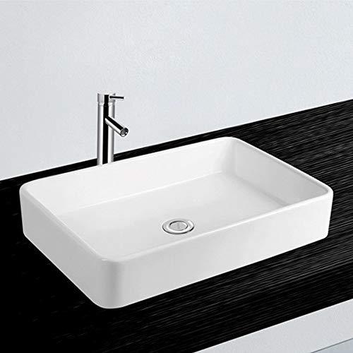 NEG Waschbecken Uno71A (eckig) Aufsatz-Waschschale/Waschtisch (weiß) mit flachem Rand und Nano-Beschichtung