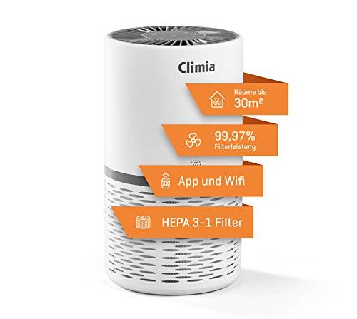 Climia CLR 250 Luftreiniger – 99,9{fa6b8c9a16f26ed37d22bf1ae3e014a87cd4b910548919379175c9247ae96228} Filterleistung, mit Hepa 13 Luftfilter und Aktivkohlefilter, 3-in-1 True-HEPA-13 Raumluftfilter mit Wifi-Modul und App bis 30 m2 (Weiß/Grau)