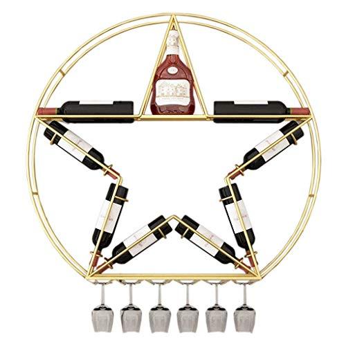 BGHDIDDDDD Novedad Estante para Vino Estantes para Vino Estante Organizador de Vino Estante para Copas de Vino Estante para Vino de Hierro Montado en la Pared Alenamiento Moderno Estantes para Botell
