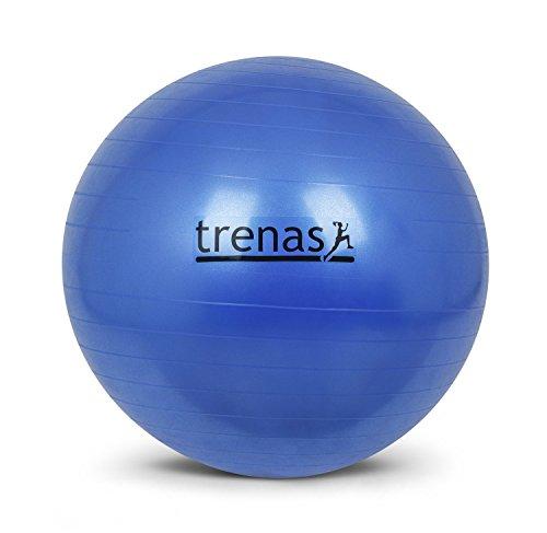 trenas Ballon de Gymnastique 75 cm - Anti-éclatement - avec Pompe - Bleu