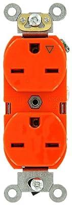 Leviton 5662-IG 15 Amp, 250 Volt, Industrial Heavy Duty Grade, Duplex Receptacle, Straight Blade, Isolated Ground, Orange