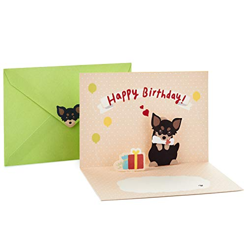 Hallmark Pop Up Birthday Card (Chihuahua with Present)