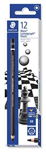 STAEDTLER 100B-8B Mars Lumograph Bleistift Premium Qualität Härtegrad 8B, 12 Stück im Kartonetui, schwarz