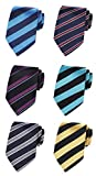 XTAPAN Men's 6 PCS Classic Neckties Woven Jacquard Polyester Silk Neck Ties Set 57.1'x3.1' Striped Style 5