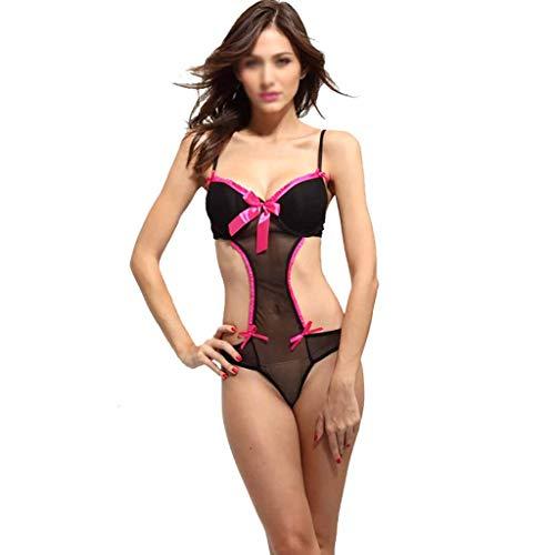 BTQA-CCSW Ver Encaje de Malla a través de la tentación de una Sola Pieza de algodón Copa Sexy lencería Femenina Sensual lencería Sexy Pijamas