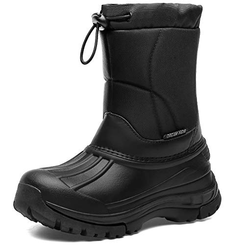 Kids Snow Boots Boys & Girls Winter Boots Waterproof Cold Weather Outdoor Boots  (Toddler/Little Kid/Big Kid) DKTX001-T5-33 Dark Black