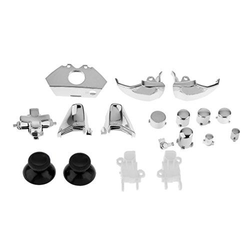 18 pcs Kit de Reemplazo Accesorio Botones para Xbox One Controldor Mando Plata