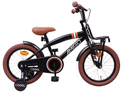 AMIGO 2Cool - Kinderfahrrad für Jungen - 16 Zoll - mit Handbremse, Rücktritt, Gepäckträger Vorne und Stützräder - ab 4-6 Jahre - Schwarz