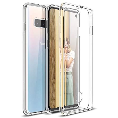 CE-Link Kompatibel mit Samsung Galaxy S10 Plus Hülle 360 Grad Crystal Clear Transparent Hüllen mit Integriertem Bildschirmschutz Silikon & PC Handyhülle Schutzhülle für Samsung S10 Plus Durchsichtige