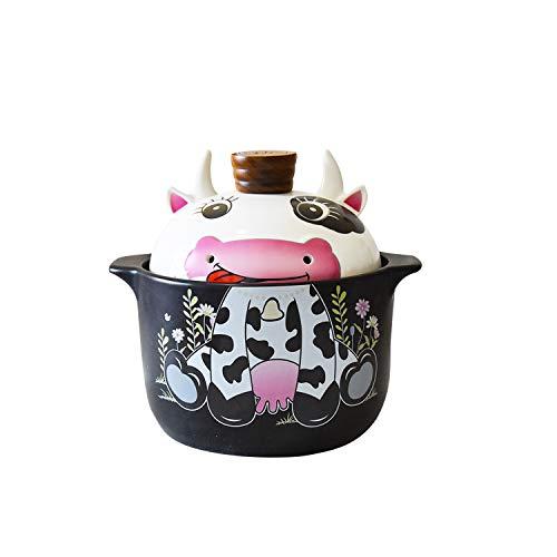 SOOMILE Cacerola con tapa, antiadherente patrón de panda holandés olla de horno con tapa para cena, banquete y fiesta (3,5 L, ganado)