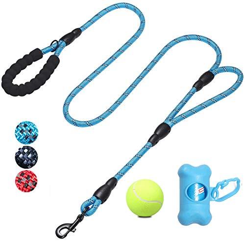 WR WPAIER Premium Hundeleine Reflektierende mit Hund Tennis,150CM mit Doppelt Bequemen Gepolsterten Griff, Starke Reflexe Nähte der Trainingsleine eignet für Alle Größe Hunde (Blau)