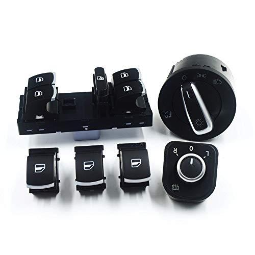 NAWQK 6 unids Espejo de Cabeza de la Ventana Interruptor de Control de Ventana Fit for Fit for Golf 6 Jetta 3 III Fit para Passat B6 Tiguan 3C8 941 431B 5K4 959 857