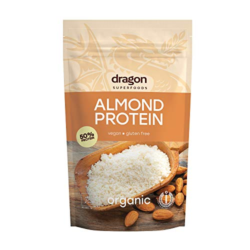 Dragon Superfoods ALMOND Vegan Protein Powder. 100% Bio Organic Plant Based Soy and Gluten Free Protein for Optimum Nutrition. Non Chemically Extracted - 200gr (10-13 Servings)