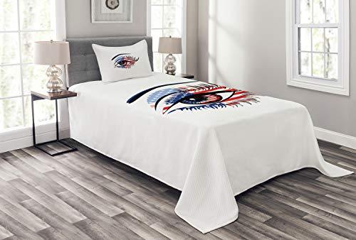 ABAKUHAUS Wimper Tagesdecke Set, USA Flagge weibliches Auge, Set mit Kissenbezügen Sommerdecke, für Einzelbetten 170 x 220 cm, Marineblau Schwarz Rot