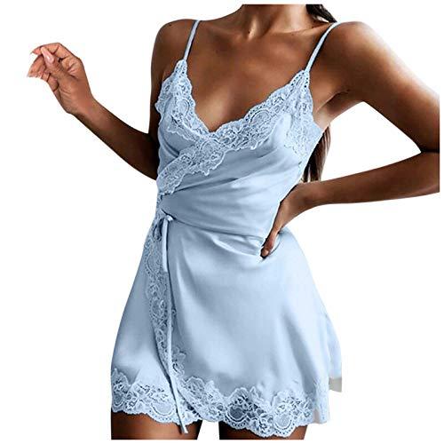 KI-8jcuD Vestido de encaje para mujer, vestido entallado, de satén, con tirantes, sin hombros, vestido de verano, de un solo color, línea A, vestido de fiesta